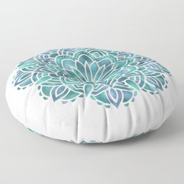 Mandala Succulent Blue Green Floor Pillow
