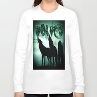 wolves Long Sleeve T-shirts featuring WolveS by shannon's art space