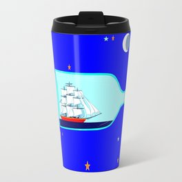 A Ship in a bottle, blue night sky with stars and moon Travel Mug