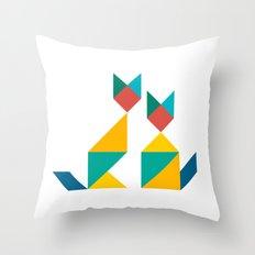 Tangram Cats 1 Throw Pillow