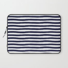 Navy Blue and White Horizontal Stripes Laptop Sleeve