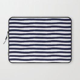 Navy Blue and White Horizontal Stripes Laptop Sleeve