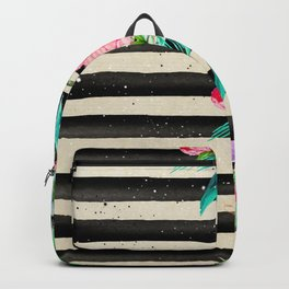 Modern stripes and tropical flowers hand paint Backpack