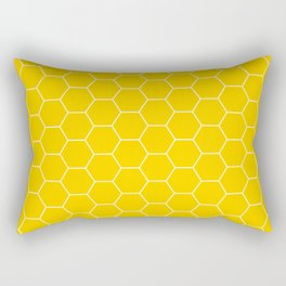 Honeycomb yellow and white pattern Rectangular Pillow