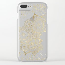 Hand drawn white and gold mandala confetti motif Clear iPhone Case