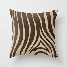 Zebra Stripes | Chocolate Brown and Beige Throw Pillow