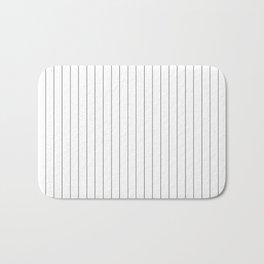 White Black Pinstripes Minimalist Bath Mat