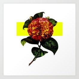 Vintage Bloom /Neon Block Art Print