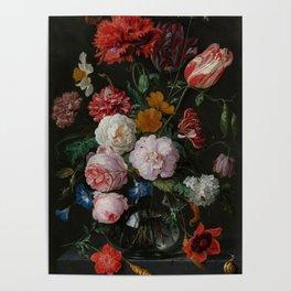 "Jan Davidsz. de Heem ""Still Life with Flowers in a Glass Vase"" Poster"