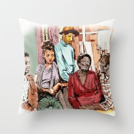GOOD TIMES (pen sketch tribute to a classic sitcom) Throw Pillow