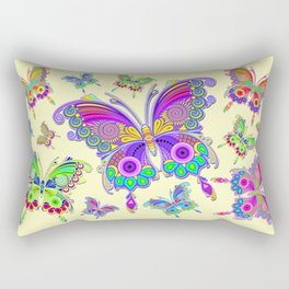 Butterfly Colorful Tattoo Style Pattern Rectangular Pillow