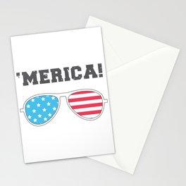 'MERICA! - American Flag Aviator Glasses Stationery Cards