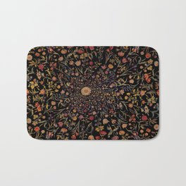 Medieval Flowers on Black Bath Mat