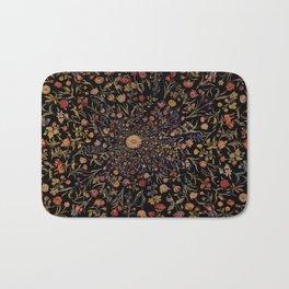 Medieval Flowers on Black Bath Mat