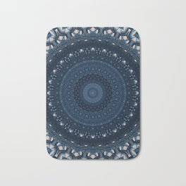 Mandala in light and dark blue tones Bath Mat
