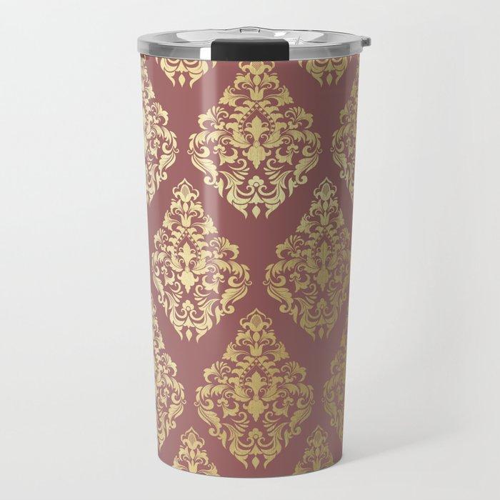 Burgundy rose gold elegant damasque Travel Mug