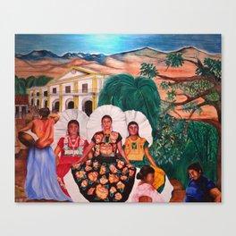 Zapotec Women and Indigenous Dress, Tehuantepec, Isthmus Region, Oaxaca, Mexico portrait painting Canvas Print