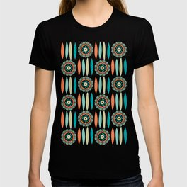 Mid Century Modern Mandala and Leaf Nature Print T-shirt