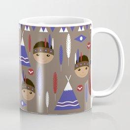 Seamless kids cute American indian native retro background pattern Coffee Mug