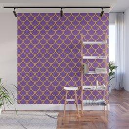 Mermaid Scales Pattern in Purple. Gold Scallops_Purple Wall Mural