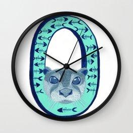 O is for Otter Letter Alphabet Decor Design Art Pattern Wall Clock