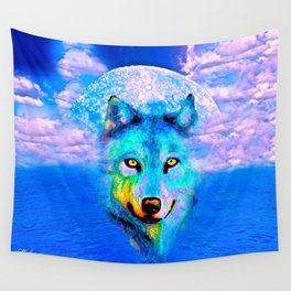 Wolf Moon and the Deep Blue Sea Wall Tapestry