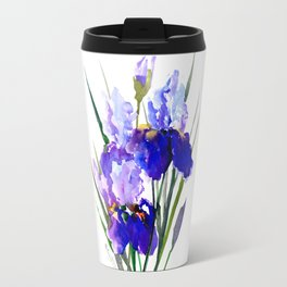 Garden Irises, Blue Purple Floral Design Travel Mug