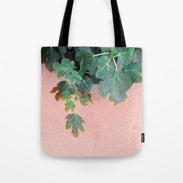 Pink Green Leaves Tote Bag