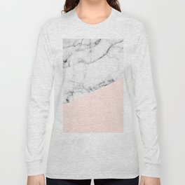 Real White marble Half Salmon Pink Long Sleeve T-shirt