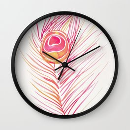 Peacock Feather – Peachy Pink Palette Wall Clock