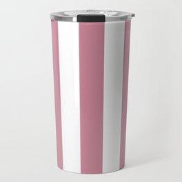 Puce violet - solid color - white vertical lines pattern Travel Mug