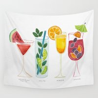 martini Wall Tapestries featuring Summer Cocktails by Cat Coquillette