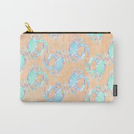 Crab orange blue nautical Carry-All Pouch