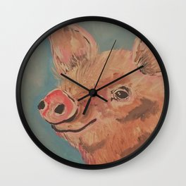 Sweet Smiling Pig Wall Clock