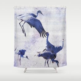 Hopping Crane Shower Curtain