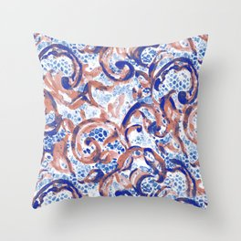 Vintage Lace Watercolor Blue Rust Throw Pillow