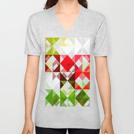 Red Rose with Light 1 Abstract Triangles 1 Unisex V-Neck