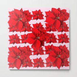 FESTIVE  RED POINSETTIA FLOWERS PINK  CHRISTMAS ART Metal Print