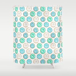 Blue Donuts - repeat pattern Shower Curtain