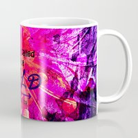 scripture Mugs featuring CALLED TO BE BOLD Floral Abstract Christian Typography Scripture Jesus God Hot Pink Purple Fuchsia by The Faithful Canvas