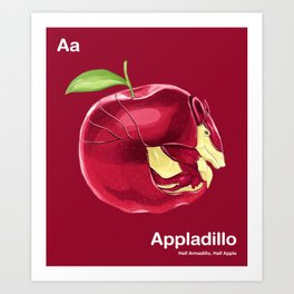 Aa - Appladillo // Half Armadillo, Half Apple Art Print