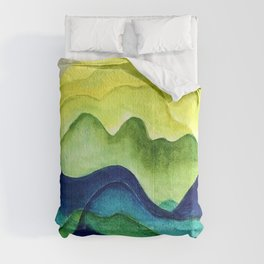 Abstract in Yellow, Green and Blue Comforters