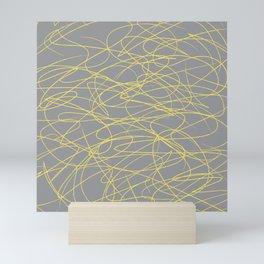 Hand Drawn Scribbles (Pantone Illuminating Yellow and Ultimate Gray) Mini Art Print