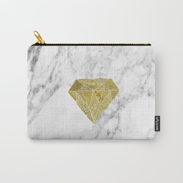 Gold diamond on marble Carry-All Pouch