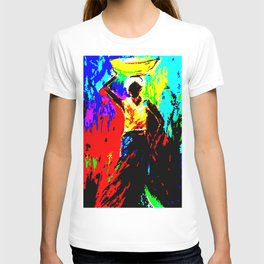 African Lady Carrying Fruit, Abstract Print T-shirt