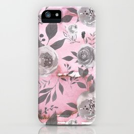 berry juice floral watercolor pink gray iPhone Case