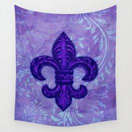 Purple Fleur de Lis Wall Tapestry