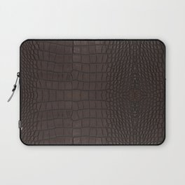 Alligator Brown Leather Print Laptop Sleeve