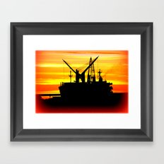 Silhouette of a fishing Vessel Framed Art Print