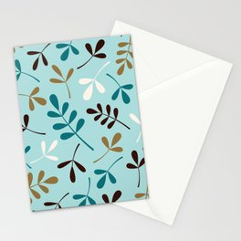 Assorted Leaf Silhouettes Teals Cream Brown Gold Stationery Cards
